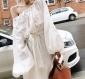 一字领泡泡袖棉麻白色宽松长袖小心机露肩连衣裙度假防晒衣女韩版